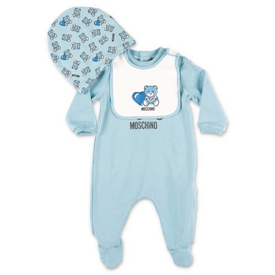 MOSCHINO cotton jersey romper, hat & bib set