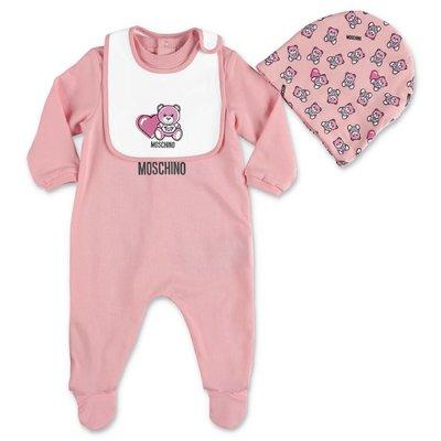 MOSCHINO set rosa Teddy Bear da tre pezzi in jersey di cotone con tutina, cappello e bavetta