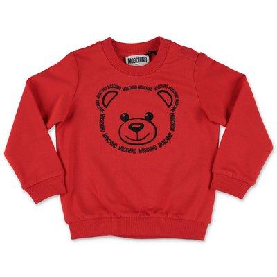 MOSCHINO felpa rossa Teddy Bear in cotone