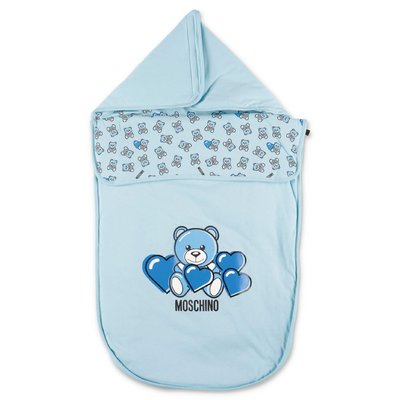MOSCHINO Teddy Bear light blue cotton sleeping bag
