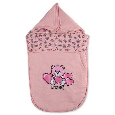 MOSCHINO Teddy Bear pink cotton sleeping bag