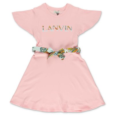 LANVIN pink cotton jersey dress