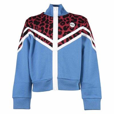 Blue animalier print details sweatshirt