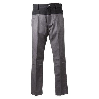 Pantaloni grigi in misto viscosa effetto sovrapposto con logo
