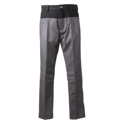 Grey logo overlapping effect viscose blend pants