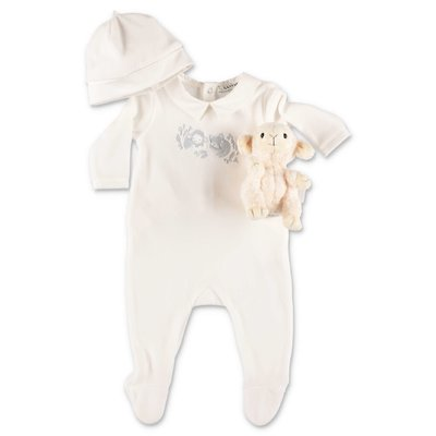 Lanvin white cotton chenille romper, hat & doudou set