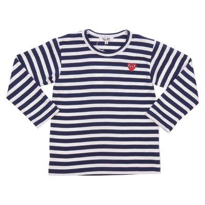 Comme des Garçons t-shirt bianca e blu a righe in jersey di cotone
