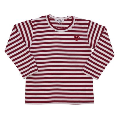 Comme des Garçons t-shirt bianca e rossa a righe in jersey di cotone