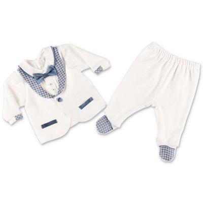 Modì white & blue cotton chenille two piece effect set