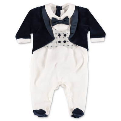Modì white and blue cotton chenille three piece effect romper