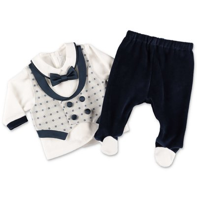 Modì white and blue cotton chenille two piece effect set