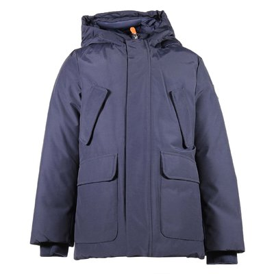 Navy blue nylon & cotton padded jacket with hood