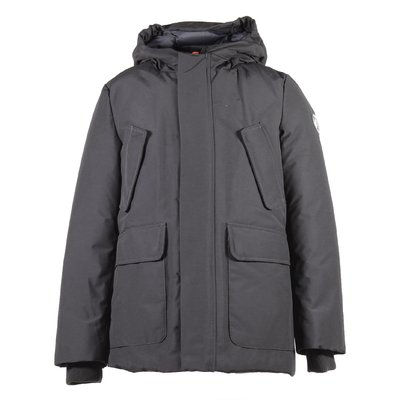 Grey nylon & cotton padded jacket with hood