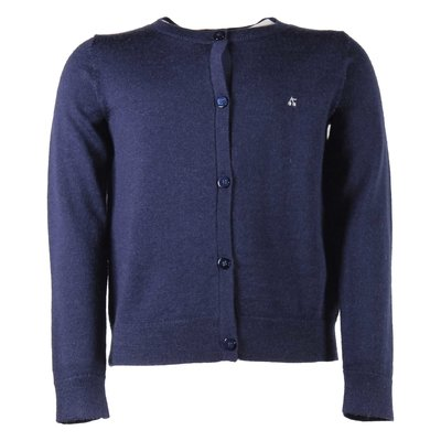 Navy blue wool knit cardigan