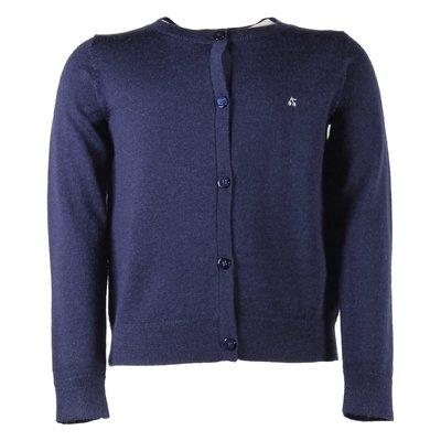 Navy blue wool knit cardigan