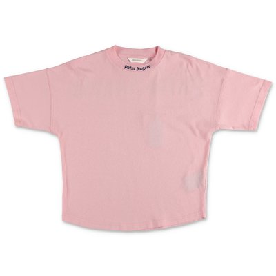 PALM ANGELS t-shirt rosa in jersey di cotone