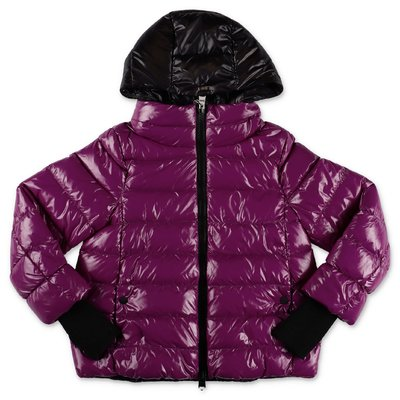 Herno purple nylon hooded down feather jacket