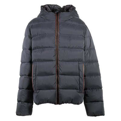 Black nylon hooded down jacket