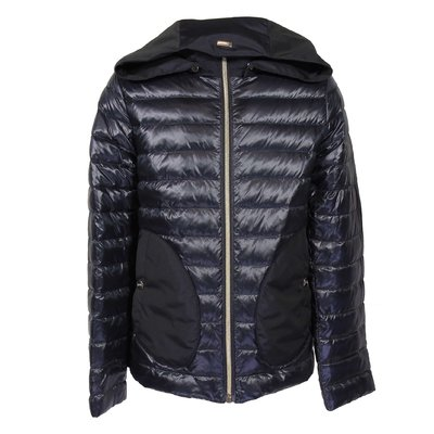Blue nylon quilted lightweight down jacket