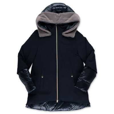 HERNO blue nylon down jacket with hood