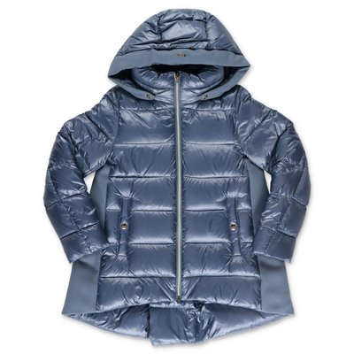 HERNO sky blue nylon down jacket with hood