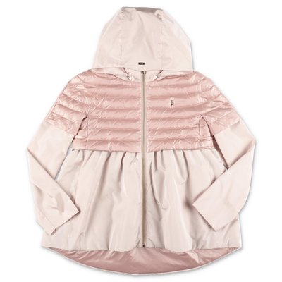 Herno pink nylon down feather jacket with hood