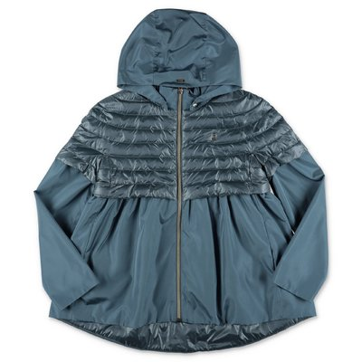 Herno light blue nylon down feather jacket with hood