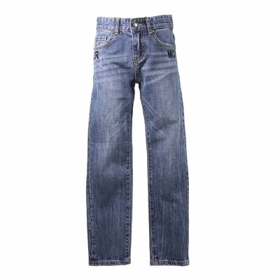 Blue strech denim cotton vintage effect jeans