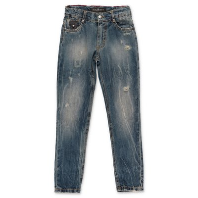 John Richmond jeans blu in denim di cotone stretch