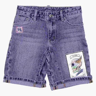 Blue stretch denim cotton shorts