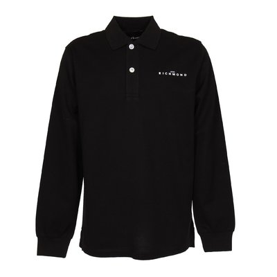 Black logo piquet cotton polo shirt