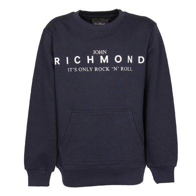 Navy blue logo detail cotton sweatshirt