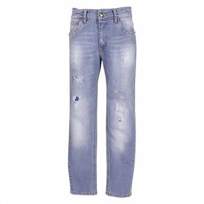 Jeans in denim di cotone stretch effetto vissuto
