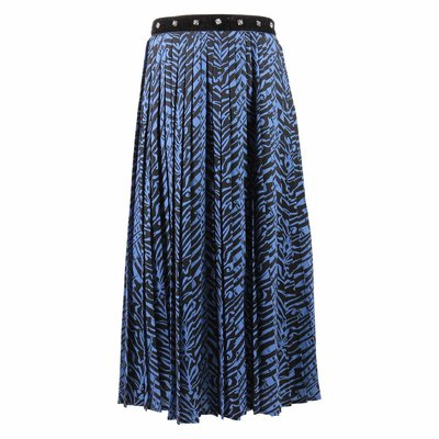 Blue zebra print pleated skirt