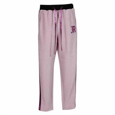 Pantaloni rosa in techno tessuto con lurex