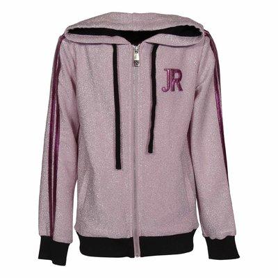 Pink lurex techno fabric zip-up hoodie