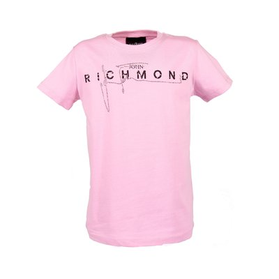 John Richmond pink logo detail cotton jersey t-shirt