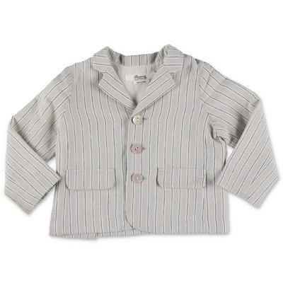 Bonpoint giacca a righe grigia in lino e cotone