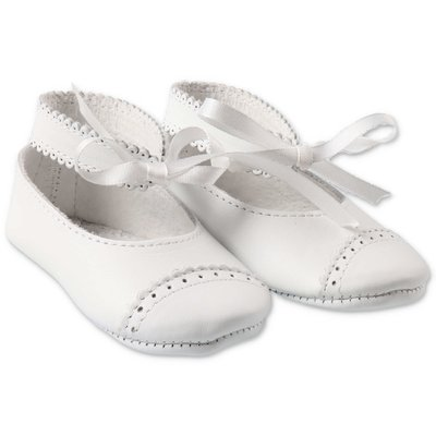 Tartine & Chocolat white nappa leather prewalker ballerinas