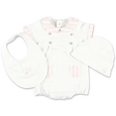 Tartine & Chocolat white cotton jersey set with romper, hat & bib