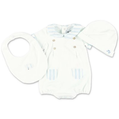 Tartine & Chocolat white cotton jersey set with romper, hat & bib