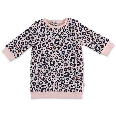 BillieBlush animalier print pink cotton sweatshirt dress