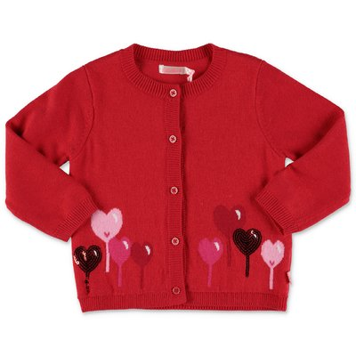 illieBlush red cotton blend cardigan