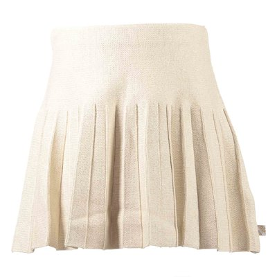 Golden pleated cotton blend skirt with lurex