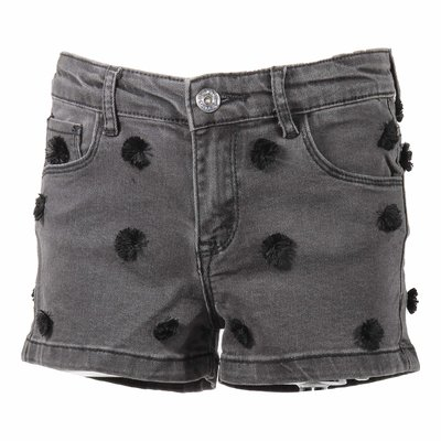 Black stretch denim cotton shorts