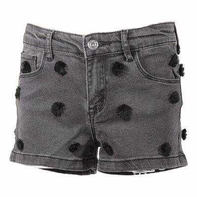 Black stretch denim cotton shorts