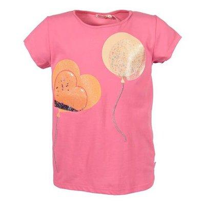 T-shirt rosa in jersey di cotone con stampe e glitter