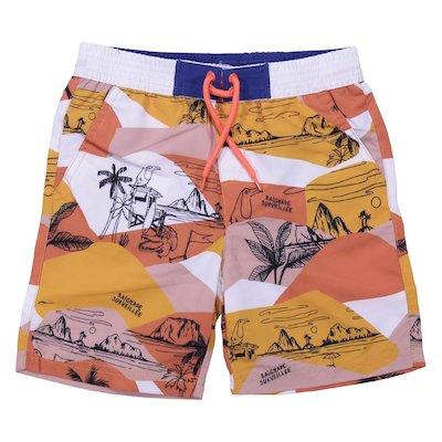 Costume shorts da mare arancio stampa