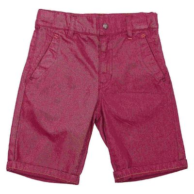 Red cotton gabardine shorts