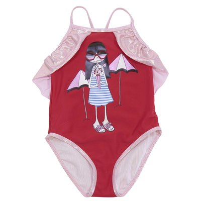 Red nylon  swimsuit with Iconic print